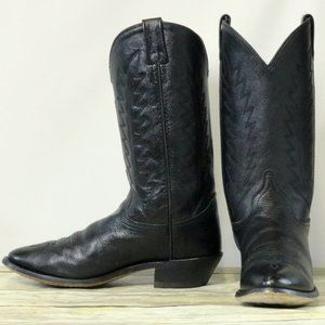 Old West Cowboy Boots Black Leather Womens 8.5